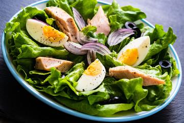 Tuna salad on black stone plate
