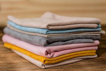 Many textile materials variety shades of colors horizontal