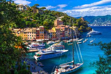 Spoed Foto op Canvas Liguria Portofino - Italian fishing village and luxury holiday resort in Liguria