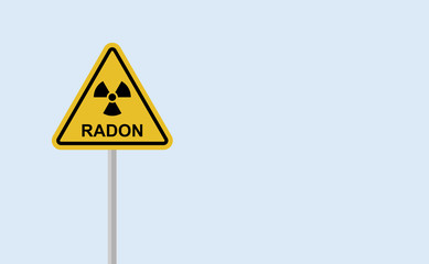 Alert signal, danger. Radon, is a contaminant that affects indoor air quality worldwide. Illustration with reference to background radiation. Radioactive, colorless, odorless, tasteless noble gas.