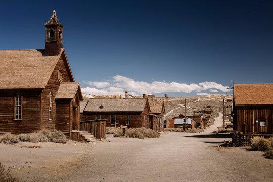 Bodie ghost town church street in California