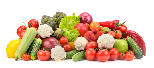 Wall Mural - Fresh ripe healthy fruits and vegetables isolated on white