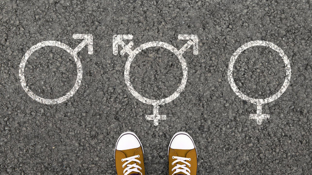 Painting of transgender, male and female symbols