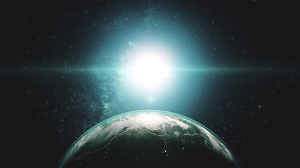Wall Mural - Earth night day transition sunrise world skyline. Realistic planet rotating from space. Sun flare. 3d render animation. Science and technology concept. Elements of this media furnished by NASA