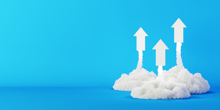 Arrows being launched, success and growth concepts, original 3d rendering