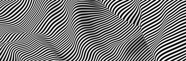 Spoed Fotobehang Abstract wave Abstract striped surface, black and white original 3d rendering
