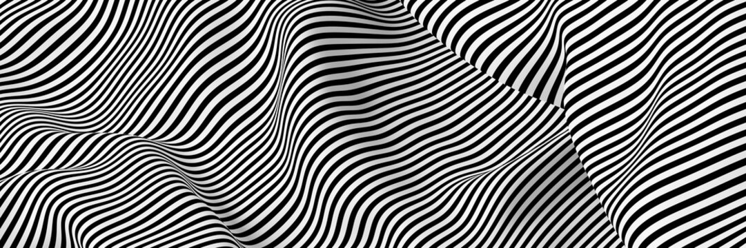 Abstract striped surface, black and white original 3d rendering