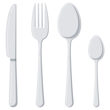 Cutlery flat design icon set isolated on white background.