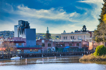 Quaint downtown Petaluma from turning basin Fototapete