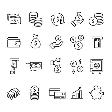 Money and payment line icons. vector illustration. linear icon set.