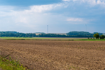 Saarbrucken, Germany - August 31, 2019: Summer landscape with Wind turbines in Saarland, Germany
