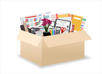 Office accessories in a cardboard box isolated on a white background. There is a phone, a calculator, folders, scissors, ruler, pen, marker and other stationery in the picture. Vector illustration