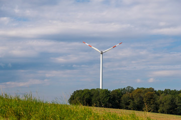Saarbrucken, Germany - August 31, 2019: Summer landscape with Wind turbine in Saarland, Germany