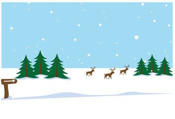 Photo sur Plexiglas vector - winter landscape with fir trees and reindeers with snowflakes with blue sky