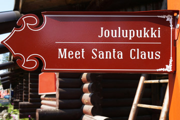 Sign to Santa Claus in the Rovaniemi
