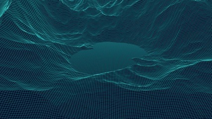 Vector wireframe 3d landscape with an abstract lake. Technology grid illustration. Network of connected dots and lines.