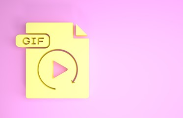 Yellow GIF file document. Download gif button icon isolated on pink background. GIF file symbol. Minimalism concept. 3d illustration 3D render