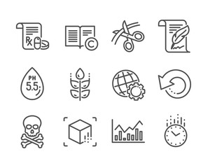 Set of Science icons, such as Globe, Ph neutral, Recovery data, Chemical hazard, Gluten free, Medical prescription, Infochart, Feather, Scissors, Augmented reality, Time, Copyright. Globe icon. Vector