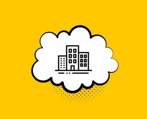 Buildings line icon. Comic speech bubble. City apartments sign. Architecture building symbol. Yellow background with chat bubble. Buildings icon. Colorful banner. Vector