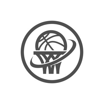 Basketball net and swoosh logo icon isolated on white
