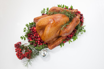 Smoked Cranberry Turkey And Christmas Ornaments