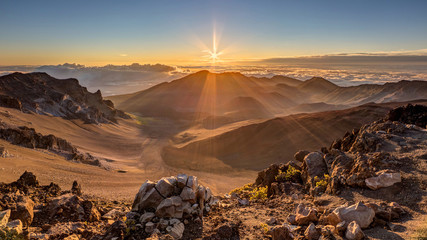 Sunrise at the Summit of Maui's Haleakala volcano
