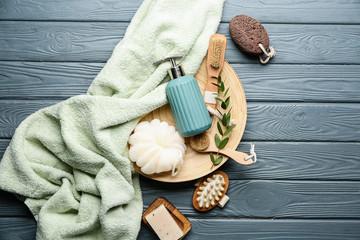 Set of bath accessories on wooden background Fotobehang