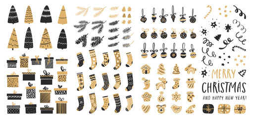 Set of Christmas elements for typographic design. Christmas trees, balls, gifts, gingerbread, socks, pine cones and fir branches. Vector illustration in black and gold style