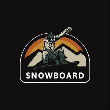 snowboard logo badge design illustration for t shirt poster patch sticker