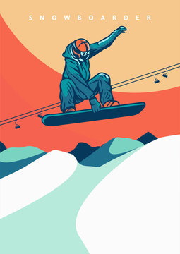 vector illustration snowboarding vintage retro design for poster