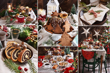 collage of Christmas Eve table with food and decors