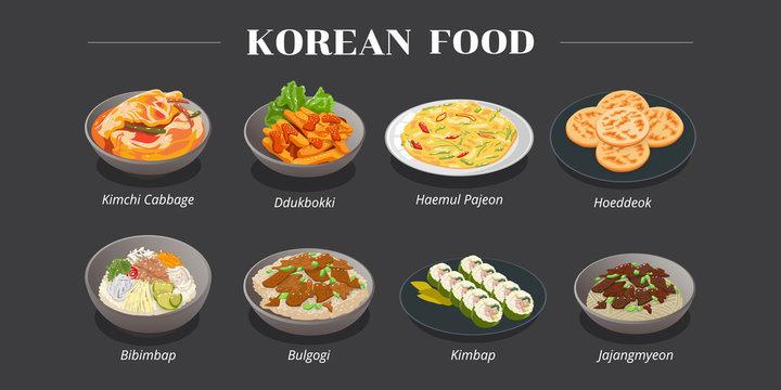 kimchi cabbage,ddukbokki,haemul pajeon,hoeddeok,bibimbap ,bulgogi,kimbap,jajangmyeon korea food menu vector graphic design