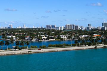 MacArthur Causeway, Palm Island and South Beach hotels and condos in South Beach, Miami, Florida.
