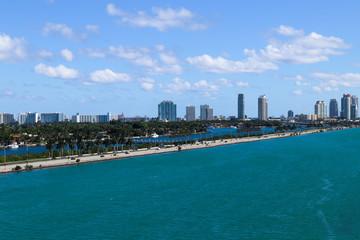 McArthur Causeway, Palm Island, Star Island and South Beach hotels and condos in South Beach, Miami, Florida.
