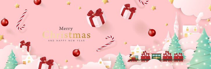 Fototapete - Merry christmas background composition in paper cut style. Vector illustration.
