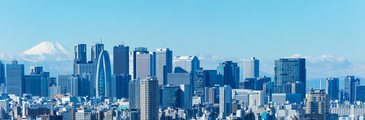 Spoed Fotobehang Tokio (東京都-風景パノラマ)青空の下の富士山と新宿ビル群3