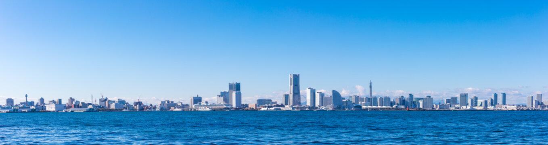(神奈川県ー風景パノラマ)埠頭から望む横浜湾岸エリア3