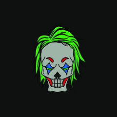 The angry skull clown logo mascot design with black background
