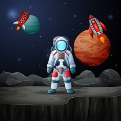 Poster Kosmos Astronaut and rocket landed on planet