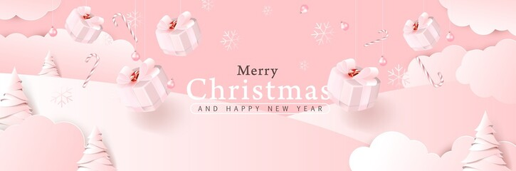 Fototapete - Merry christmas background composition in paper cut style color of pink. Vector illustration.