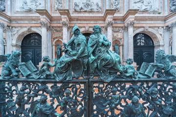 Fototapete - Classic gate of loggetta del campanile di san marco in venice, italy
