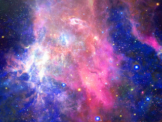 Foto auf Leinwand Kosmos Infinite beautiful cosmos dark blue and pink background with nebula, cluster of stars in outer space. Beauty of endless Universe filled stars.Cosmic art, science fiction wallpaper