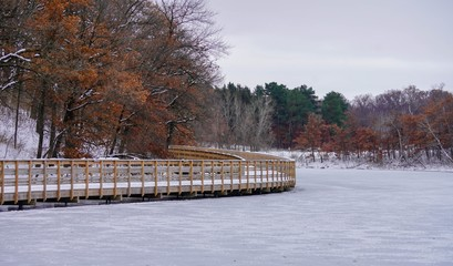 Scenic Walking Trail on a lake in late autumn
