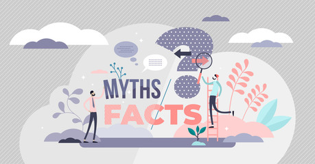 Myths and facts vector illustration. Info accuracy in tiny persons concept.