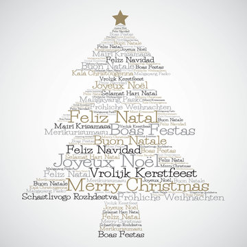 """Christmas tree made from """"Merry Christmas"""" in different languages in vector format."""