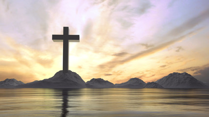 3D Rendering of metal cross on stone hill with dramatic ray lights from sky and reflection on calm lake water surface. Concept of Jesus Christ cross, Easter, resurrection, crucifixion, Ascension day