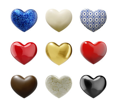 Various Hearts with clipping path - 3D illustration