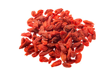 Closeup image of goji dried berries group isolated ay white background. Supefood, detox and healthy lifestyle.