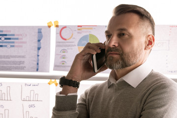 Confident mature broker holding smartphone by ear while talking to client