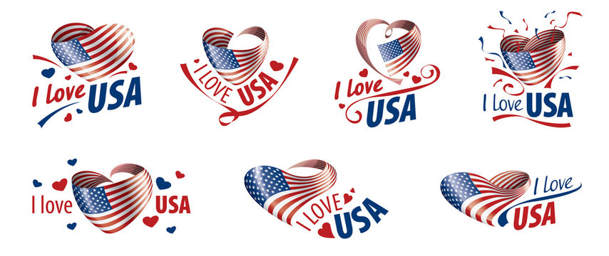 The national flag of the USA and the inscription I love the USA. Vector illustration